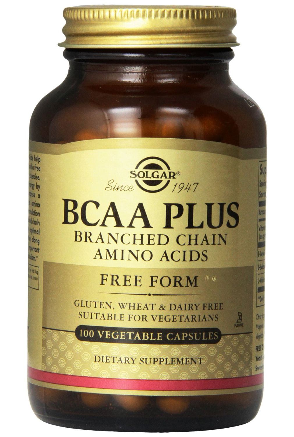 Solgar BCAA Plus Branched Chain Amino Acids Vegetable Capsules