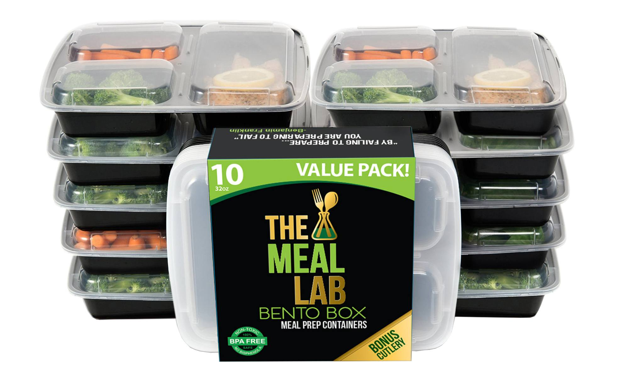 Meal Lab 3-Compartment BPA FREE Stackable Meal Prep Food Storage Containers with Lids