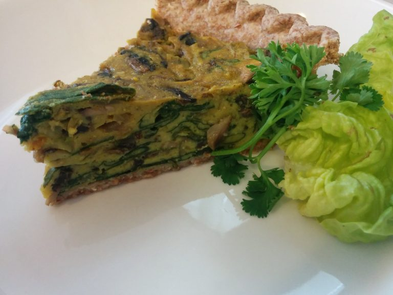 No-Tofu Spinach and Mushroom Quiche