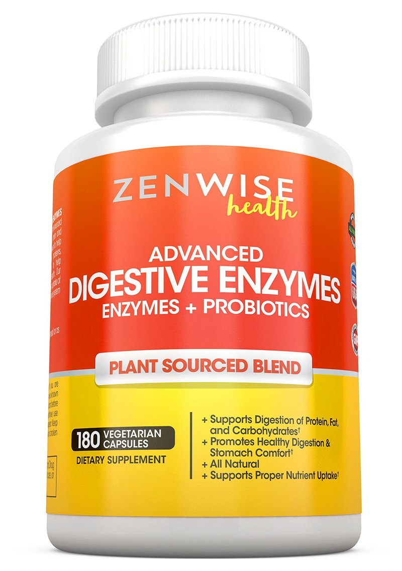 Digestive Enzymes Plus Prebiotics & Probiotics - Natural Gluten Free Support - For Better Digestion & Lactose Absorption - For Bloating & Gas Relief + Helps IBS & Leaky Gut - 180 Vegetarian Capsules