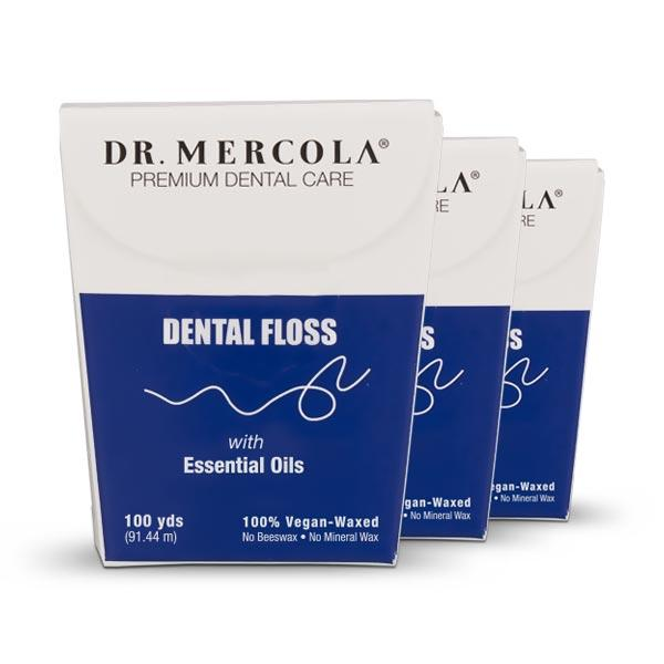 Natural Dental Floss by Mercola - 3 Pack/100 Yards Each