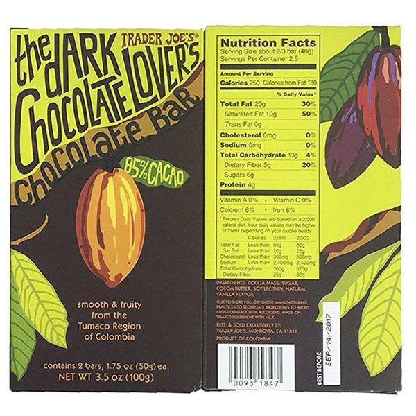 Trader Joes Dark Chocolate Lovers Bar